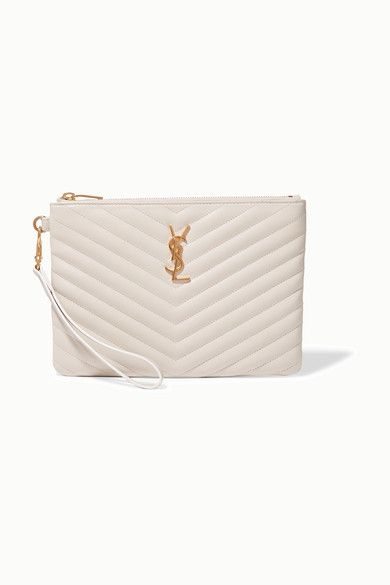 It's not only neutral ready-to-wear we're coveting this season, but accessories too. Saint Laurent updates its signature pouch in cream quilted leather that beautifully complements the polished gold 'YSL' plaque. It opens to an organized interior fitted with six card slots and two pouch pockets for keeping your smaller essentials secure.
