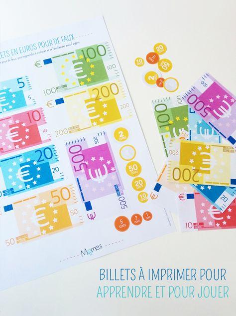 Des billets et des pièces en Euros à imprimer pour apprendre ou pour jouer, très pratique à utiliser en classe en support pour découvrir la monnaie Euro, apprendre à compter, à rendre la monnaie et se familiariser avec la notion d'argent.