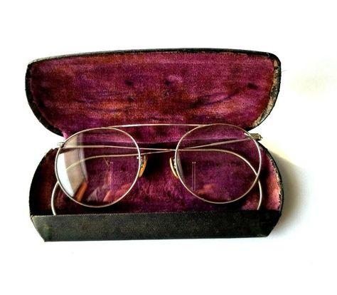 92616e90d7 Vintage 12 k White Gold Filled Glasses Eyeglasses Frames Rimmed H-iBo W  Case  HiBo  HiBo