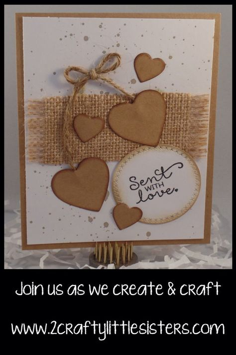 This card was made using Hampton Arts Love Words stamp set and some fun burlap and jute!