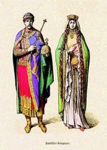 Frankish early Medieval dress of a royal couple (possibly late century). (long beribboned braids, coronet atop long veil, long dress with dropped waist, long ornamented robe)
