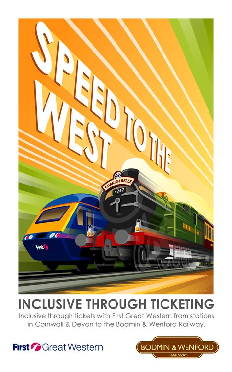'SPEED TO THE WEST': 'The Bodmin Railway joins the Cornish main line at Bodmin Parkway to Bodmin Town. Why not enjoy one of their many theme weekends, treat yourself to a steam and cream tea ride or walk down town to Bodmin Jail and the playpark.'     ✫ღ⊰n