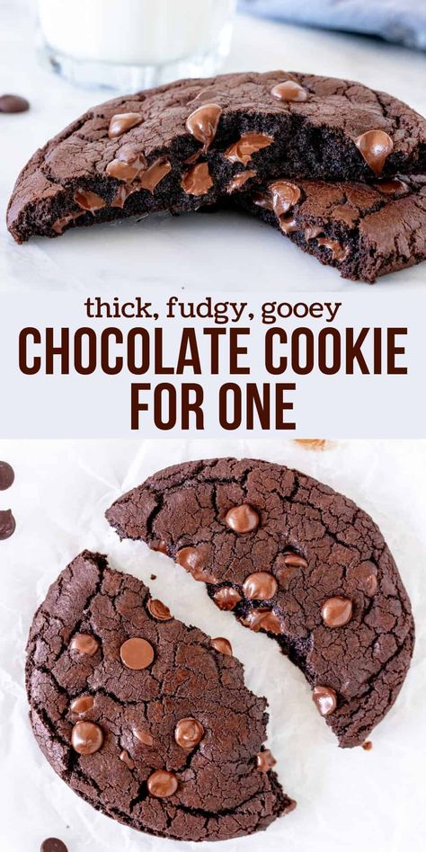 This giant double chocolate cookie for one is thick, fudgy and filled with chocolate chips. It's soft and a little gooey in the middle with slightly crispy edges. The perfect late-night treat for true chocolate lovers. #cookie #doublechocolate #forone #singleserving #giant #recipe #easy #latenighttreat #snack #chocolatechip #chocolate from Just So Tasty