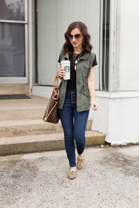 How To Style a Green Utility Vest - Loafers Outfit - Ideas of Loafers Outfit - how to style a green utility vest leopard loafers black tee