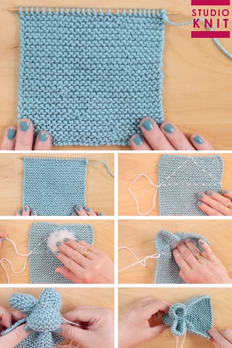 So cute! Knit a Bunny from a Square from an easy knit stitch pattern! From just a knitted square you will be able to create the stuffed softie animal shape of a Bunny. #StudioKnit #knittingvideo #bunnyfromasquare #easyknitting #knittingpattern