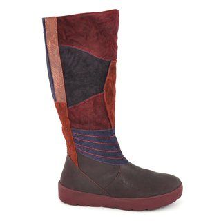 PIXIE D Button Detail Leather Knee High Boot burgundy