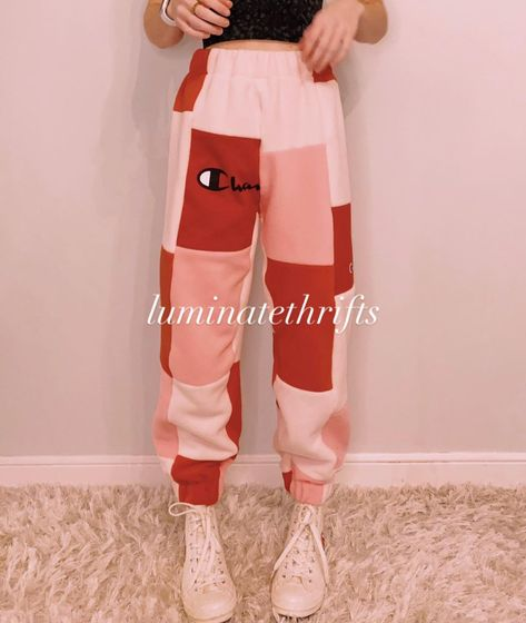 """Luminate Thrifts on Instagram: """"Ruby Reworked Joggers ❤️ Red, Pink, Light Pink Dropping tomorrow (1/22) on our website @ 8pm EST!  • Size: women's - xxs/xs Waist: (resting…"""""""