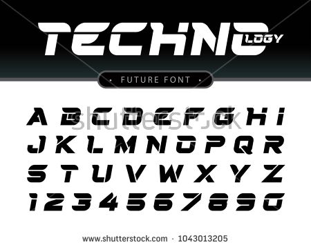 Vector of Futuristic Alphabet Letters and numbers, Future