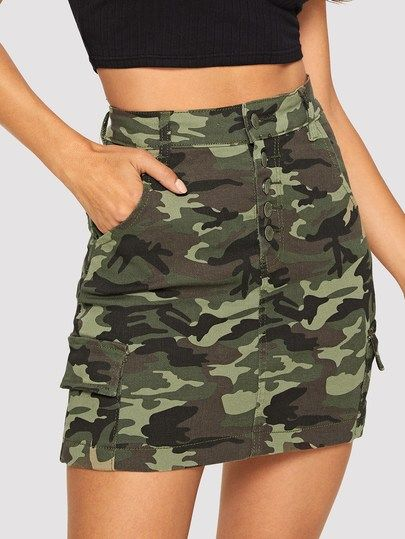 To find out about the Button Front Denim Camo Skirt at SHEIN, part of our latest Denim Skirts ready to shop online today!
