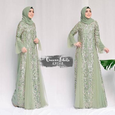 Pre Order KASHA Dress + Pashmina By Queenalabels . . Detail Matterial ity crep... - Hijab Combine