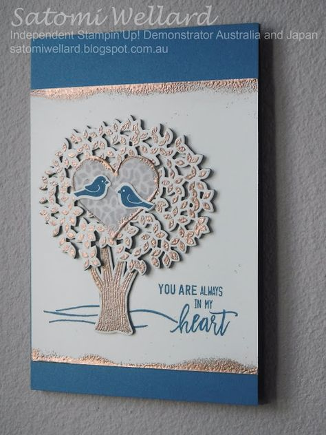 Thoughtful Branches, Beautiful Branches Thinlits, Sweetheart punch, Thoughtful Banners (part of sentiment), Copper embossing powder, Vellum - http://satomiwellard.blogspot.com.au/2016/07/crazy-crafters-intentional-blog.html