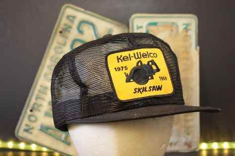 acefa06223c Vintage Skilsaw K Products Trucker Hat Cap Patch Full Mesh Snapback Black  Yellow  KProducts  Trucker