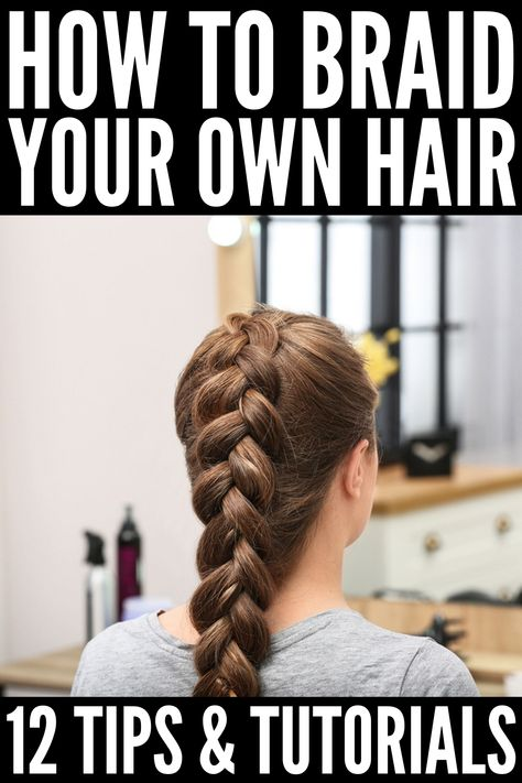 How to Braid Your Own Hair: 5 Step-by-Step Tutorials for Beginners Learn how to braid your own hair with these step by step French, Dutch, fishtail, halo, and waterfall braid tutorials for beginners! Easy Hairstyles For Medium Hair, Easy Hairstyles For Long Hair, Braids For Short Hair, Medium Hair Styles, Curly Hair Styles, Styles Locs, Short Hair Braids Tutorial, Boxer Braids Tutorial, Curly Hair Braids