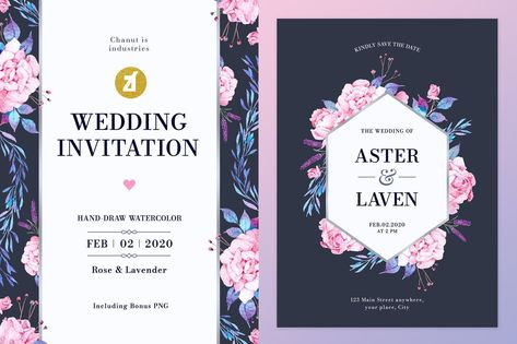 Floral Hand-drawn Watercolor Wedding Invitation Template AI, EPS, PSD