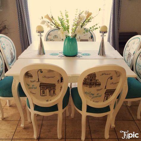 Comedor Vintage, blanco, sillas tapiz felpa en asiento ...