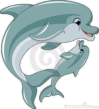 Dolphin Mother And Baby Stock Vector Illustration Of Mama 19287309 Cartoon Dolphin Aquatic Art Dolphin Drawing