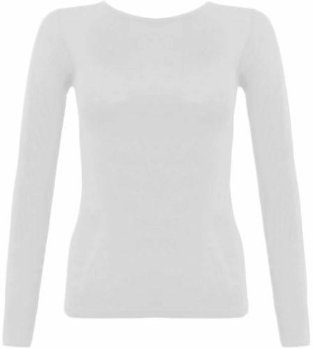 629c9d9d402 New Womens Round Neck Long Sleeve Plain Basic Ladies Stretch T Shirt Top 8 -14