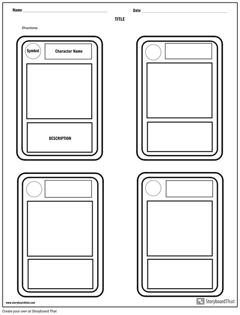 Character Trading Cards Template Project Ideas Title Name Directions Symbol Description Cha Trading Card Template Diy Trading Cards Baseball Card Template