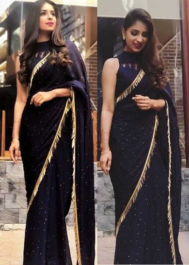 Indian Party Wear Wedding Plain Georgette Saree Ethnic Sari Fabric Black Color