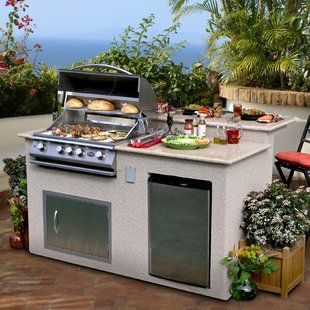 Kokomo Grills St Croix Bbq 120 4 Burner Natural Gas Prefab Kitchen Island Wayfair Small Outdoor Kitchens Outdoor Kitchen Countertops Grill Island