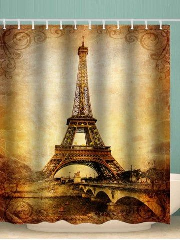 Eiffel Tower Star Waterproof Shower Curtain Rustic Curtains