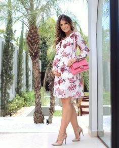 d74ac35d93eb0 Pink Watercolor Floral Fitted Maternity Dress | Maternity Wear | Pinterest  | Maternidad, Ropa de embarazo and Ropa para embarazadas