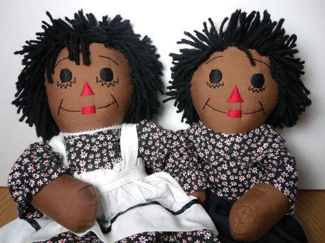 "Beautiful 18"" Handmade Pair Raggedy Ann and Andy"