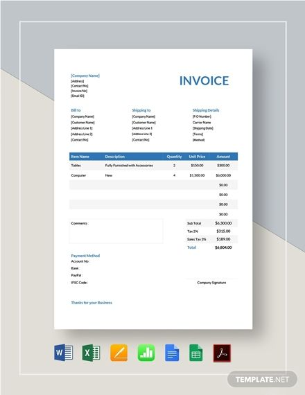 Instantly Download Company Invoice Template Sample Example In Pdf Microsoft Word Doc Microsoft Excel Xls Googl Invoice Template Google Sheets Word Doc