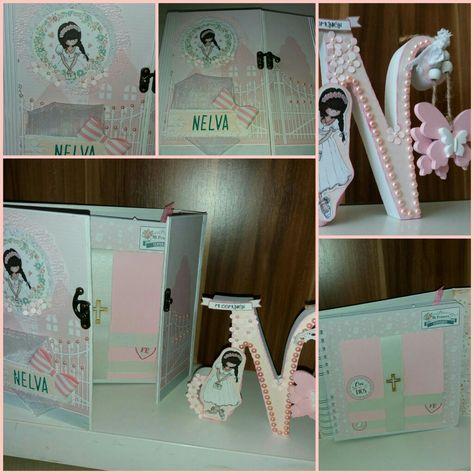Álbum comunión niña Daika y letra decorada