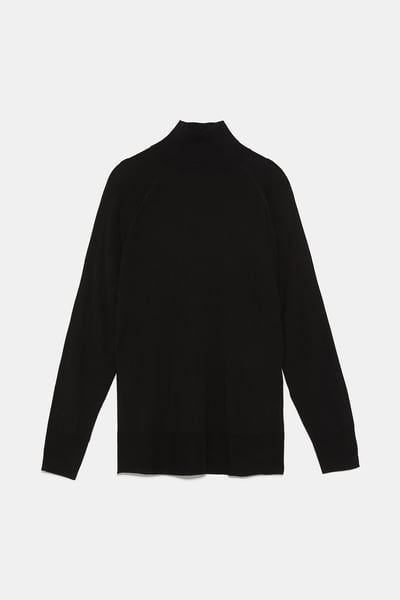 Jersey Cuello Perkins Cuello Alto Punto Mujer Zara España High Neck Sweater Mock Neck Sweater Sweaters