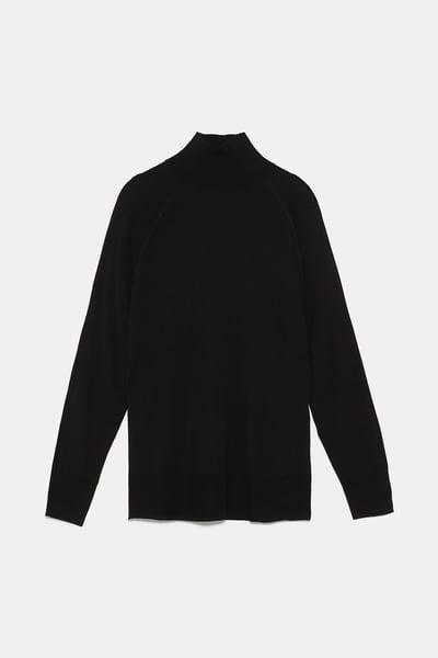 Jersey Cuello Perkins Cuello Alto Punto Mujer Zara España High Neck Sweater Mock Neck Sweater Sweaters