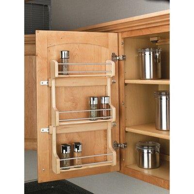 Rev A Shelf 18 Inch Cabinet Door Mount Wood 3 Shelf Spice Rack With Hardware Clear In 2020 Door Mounted Spice Rack Home Office Layouts Rev A Shelf