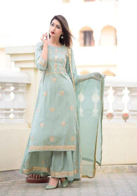 Details about Indian kurta dress With dupatta pant Flare Top Tunic Set blouse Combo - Designer Dresses Couture