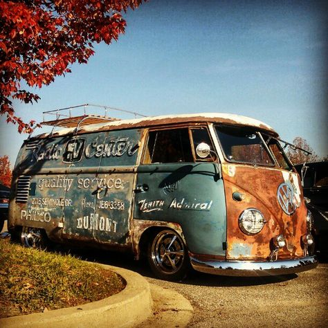 An old but refurbished camper with a rustic interior.