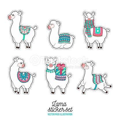Cute Llama And Alpaca Sticker Funny Lama Patches Llama