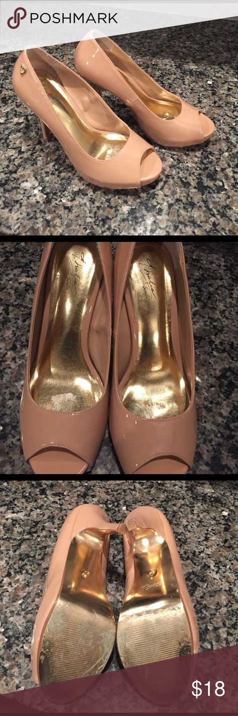 Thalia Sodi Nude peep toe high heels Size 8 Nude pumps that were worn for a  wedding that I was in. In good condition some damage done to inside due to  ...