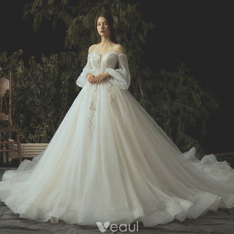 Luxury / Gorgeous Ivory Wedding Dresses 2019 Ball Gown Lace Flower Beading Crystal Sequins Strapless Long Sleeve Backless Royal Train