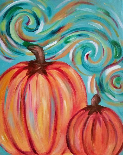 fun colorful pumpkin canvas painting