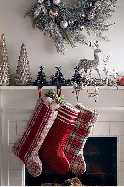 Couples Christmas Stockings Modern Farmhouse Family Christmas Stockings Brown Wool Houndstooth Plaid