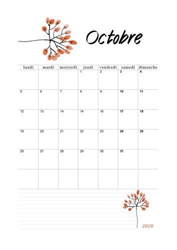 Octobre 2020   Floral #calendrier2020 #octobre2020