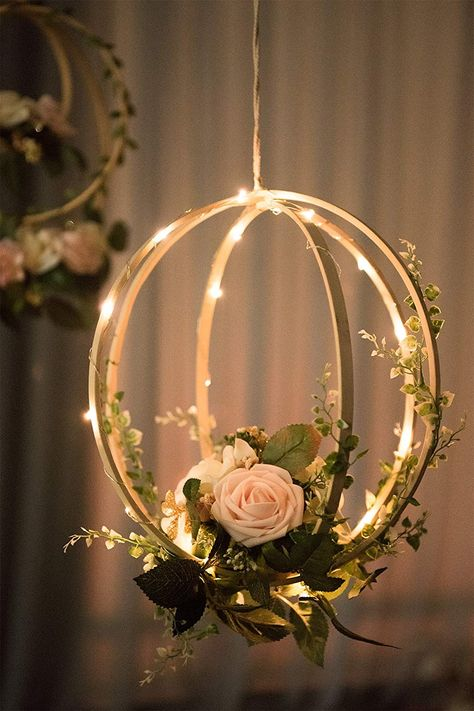 Blush Pink Floral Hoop Wreaths (Set of Unique Design: Handcrafted with blush and ivory open roses, rose buds, greeneries and vines on a bentwood spheres and a orbit hoop. They look realistic and will last forever. Package & Size: Set of 2 floral hoop wr Open Rose, Floral Hoops, Deco Floral, Art Floral, Floral Design, Blush Roses, Ivory Roses, Diy Hanging, Hanging Lanterns
