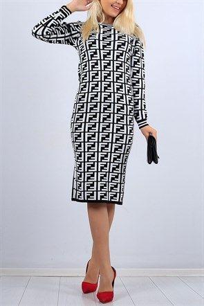 Desenli Beyaz Bayan Triko Elbise 10353b Moda Stilleri Elbise Triko