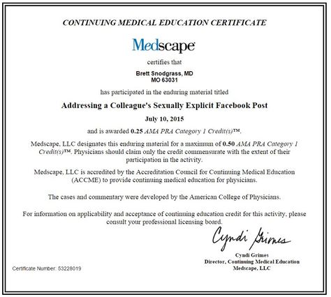 Addressing a Colleagueu0027s Sexually Explicit Facebook Post Doctors - medical fitness certificate