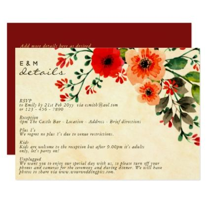 Watercolor Poppy Wedding Details Program Card Script Gifts Template Templates Di Flower Wedding Invitation Watercolor Wedding Invitations Wedding Invitations