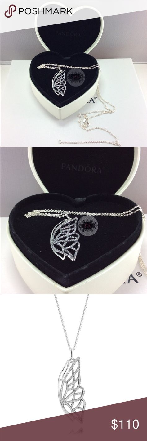 811d03565 New Heart Boxed Pandora New Beginning Necklace Authentic Pandora New  Beginning Butterfly Pendant 390367CZ-90 The chain has 3 loops for  adjustable wear.