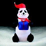 Christmas PANDA BEAR holding Present Airblown Inflatable Holiday Decoration by Gemmy . $59.90. Easy  Set Up. Stands 3 1/2 Feet Tall. For Indoor & Outdoor Use. Panda Bear is holding a gift wrapped present and wearing a Santa Hat ... Too Cute!  Wonderful decoration for home or office.
