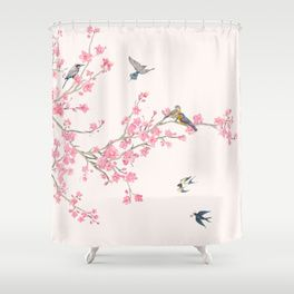 Birds And Cherry Blossoms Shower Curtain Designer Shower Curtains Unique Shower Curtain