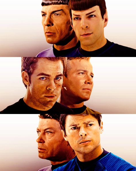 Leonard Nimoy and Zachary Quinto as Spock, Chris Pine and William Shatner as Kirk, and DeForest Kelley and Karl Urban as McCoy. - Fantastic casting!!