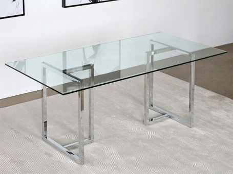 Chrome Sawhorse Dining Table With Glass Top Glass Dining Room Table Glass Dining Table Dining Table
