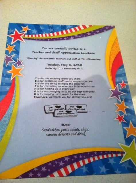 List Of Pinterest Teacher Appreciation Luncheon Ideas Children